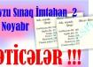 Nəticələr - Mövzu Sınaq İmtahanı 2 - 23 Noyabr