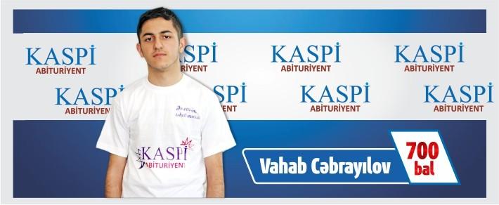 """İlk """"Kaspi"""" təqaüdünü Vahab Cəbrayılov aldı!"""